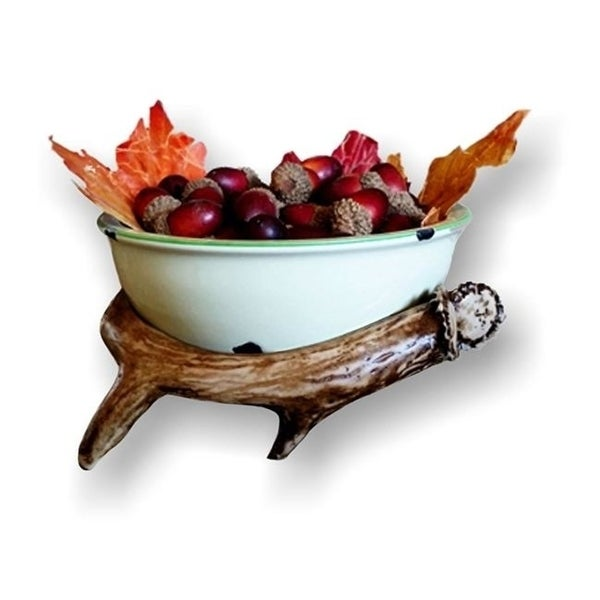 Mountain Mikes Reproductions MMR 6AB 6 in. Ceramic Bowl with Antler Holder