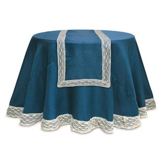 """Pack of 6 Opulent Teal & Ivory Christmas Table Runners with Crocheted Edges 70"""""""