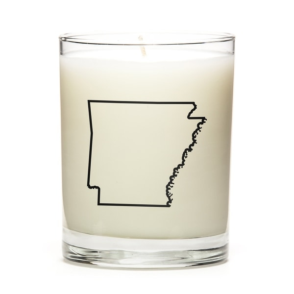 State Outline Candle, Premium Soy Wax, Arkansas, Peach Belini