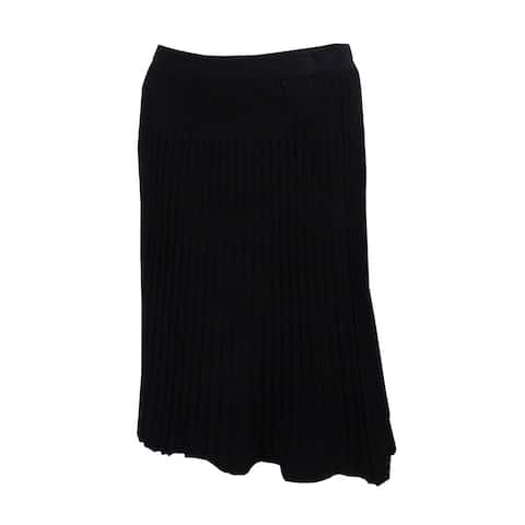 Anne Klein Women's Ribbed Knit A-Line Skirt - Black