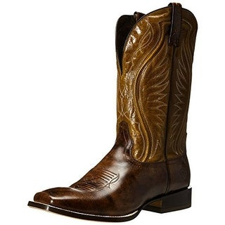 Ariat Mens Hookin Horns Leather Square Toe Cowboy, Western Boots