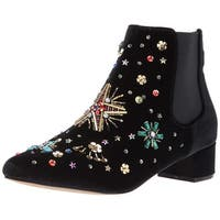 Betsey Johnson Womens Jax Fabric Pointed Toe Ankle Fashion Boots