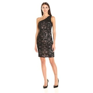 Calvin Klein One Shoulder Lace Sheath Cocktail Dress