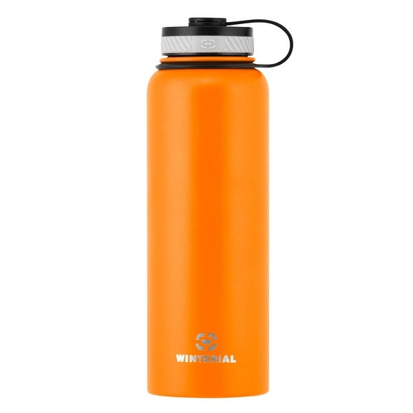 Winterial Insulated Water Bottle, 40oz, Double Walled HOT & COLD, Vacuum Sealed, Orange, Thermos