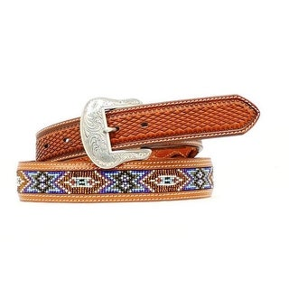 Nocona Western Belt Mens Leather Southwest Beaded Brown Blue