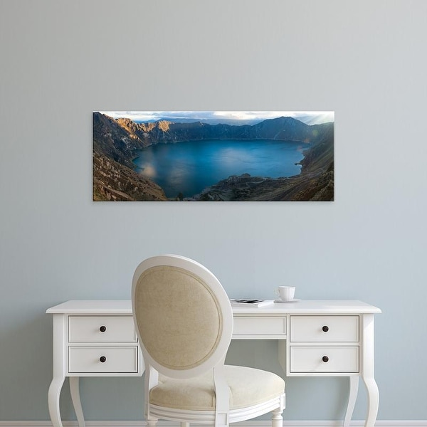 Easy Art Prints Panoramic Image 'Lake surrounded by mountains, Quilotoa, Andes, Cotopaxi Province, Ecuador' Canvas Art