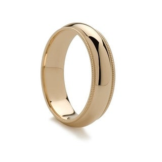 14k Yellow Gold Domed Ring With Dual Milgrain Edges 6mm