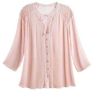 Women's Crochet Cutwork Tunic Shirt - Pink Button-Front Long Sleeve Blouse