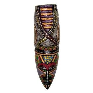 Elaborately Dot Painted Asmat Snek Tribal Wall Mask 20 Inches High