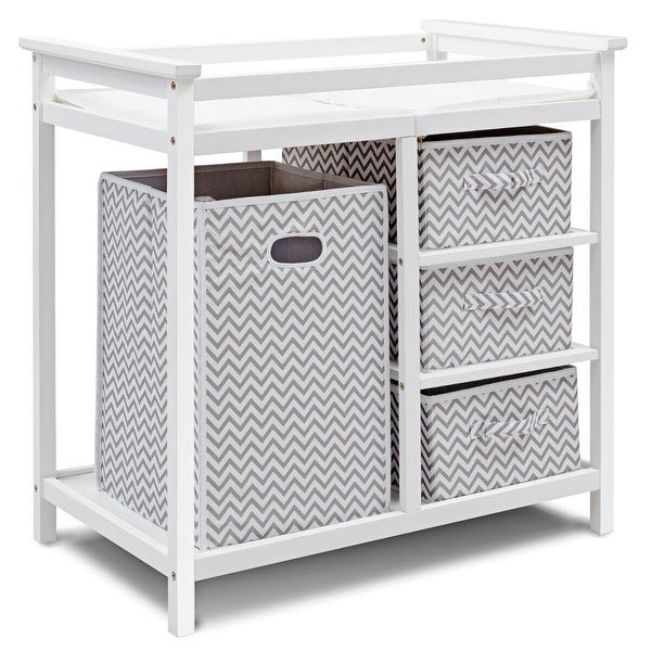 Costway Gray Infant Baby Changing Table w/3 Basket Hamper Diaper. Opens flyout.