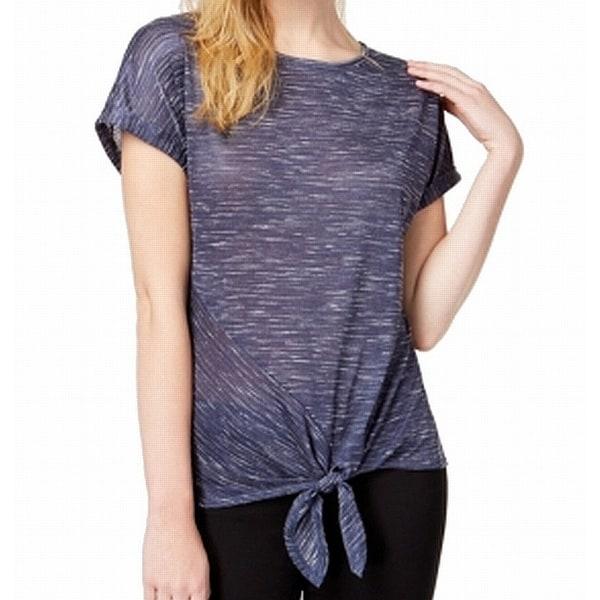 BCX Blue Womens Size Large L Aysmmetrical Tie-Front Tee-Shirt Top
