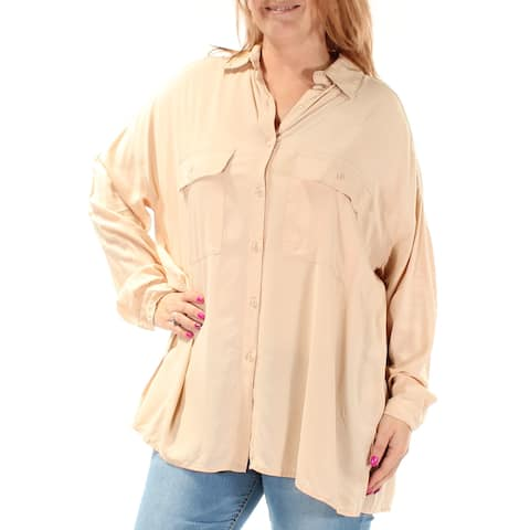 MAX STUDIO Womens Beige Pocketed Cuffed V Neck Button Up Top Size: L