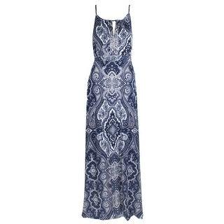 Inc International Concepts Blue Sleeveless Printed Keyhole Maxi Dress XXL