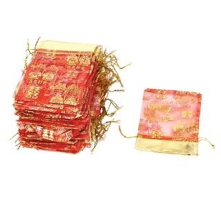 100 x Red Gold Tone Bride Bridegroom Prints Drawstring Closure Wedding Candy Bag