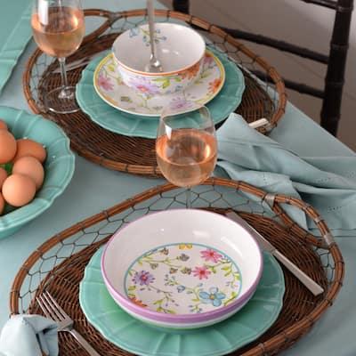 Euro Ceramica Charlotte Stoneware Asssorted Pasta Bowl (Set of 4)