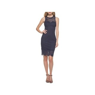 Guess Womens Cocktail Dress Striped Lace Overlay