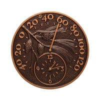 Whitehall Pinecone Thermometer Clock (Antique Copper)