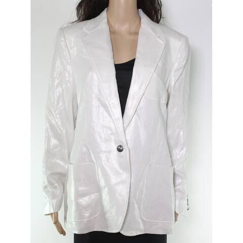 Lauren by Ralph Lauren Women's Jacket White Ivory Size 14 Shiny