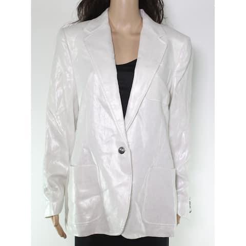 Lauren by Ralph Lauren Womens Jacket White Ivory Size 12 Shimmer