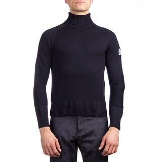 Moncler Men's Virgin Wool Turtleneck Sweater Navy Blue