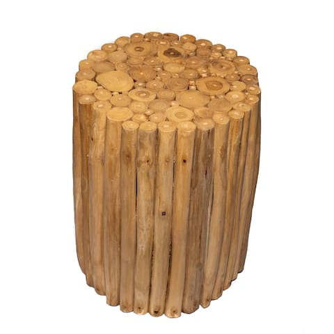 Acacia Wood End Table with Natural Wooden Logs, 17.75 Inches Tall