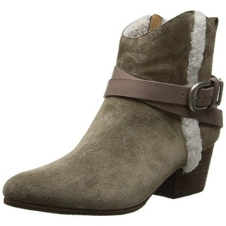BELLE by Sigerson Morrison Womens Laica Ankle Boots Suede Fur Trim