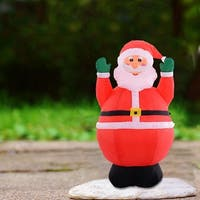 Costway 4Ft Airblown Inflatable Christmas Xmas Santa Claus Decoration Lawn Yard Outdoor
