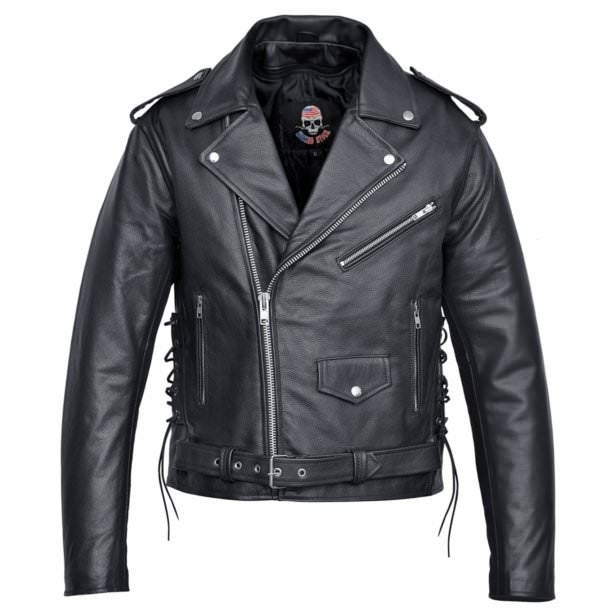 purchase authentic the sale of shoes store Men's Motorcycle Biker Leather Jacket Classic Design Black MBJ19
