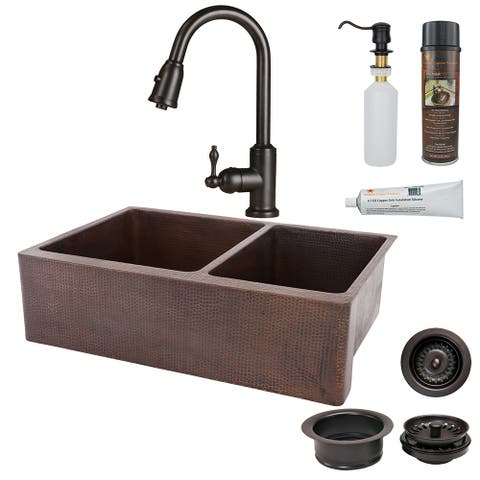 Premier Copper Products KSP2_KA60DB33229 Kitchen Sink, Pull Down Faucet and Accessories Package