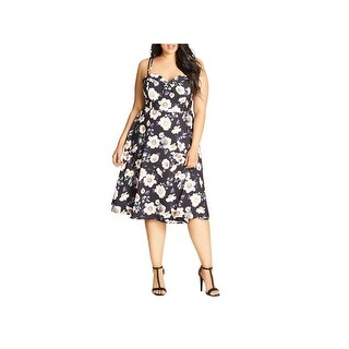 City Chic Womens Plus Casual Dress Strappy Floral Print