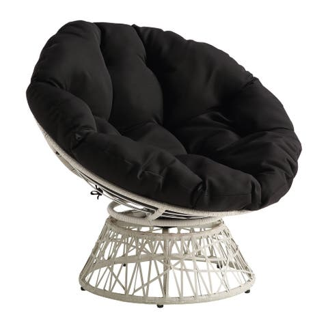 Papasan Chair with Round Pillow Cushion and Cream Wicker Weave