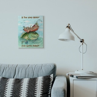 Link to Stupell Industries Hats Missing Gone Fishing Funny Sports Cartoon Design Canvas Wall Art Similar Items in Canvas Art