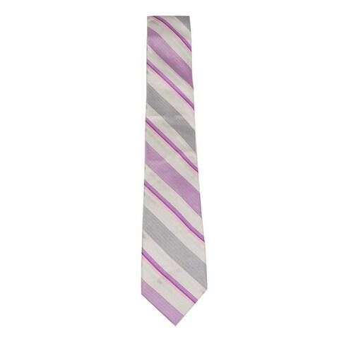 Calvin Klein Men's Bianco Multi Stripe Slim Tie (Fuschia, OS) - Fuschia - os