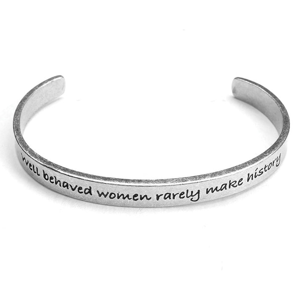 Women's Note To Self Inspirational Lead-Free Pewter Cuff Bracelet - Well Behaved Women