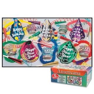 Decorative Americana New Years Eve Party Assortments for 10 People - Multi