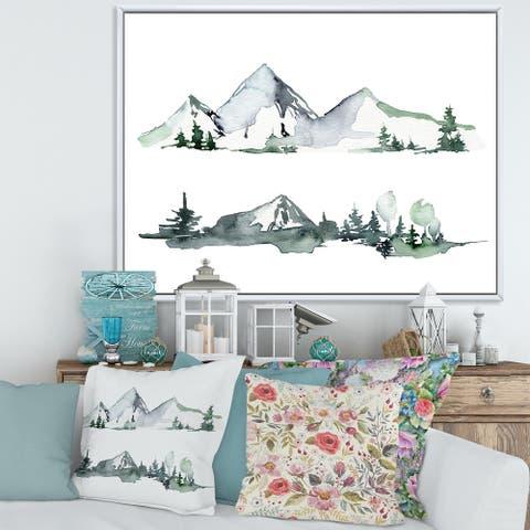 Designart 'Winter Dark Blue Mountain Landscape With Trees II' Modern Framed Canvas Wall Art Print