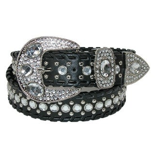 CTM® Women's Western Belt with Rhinestones and Studs