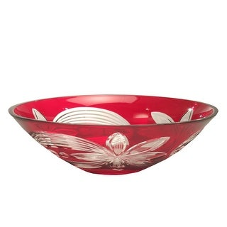 "13"" Red Floral Decorative Hand Cut Crystal Glass Bowl"