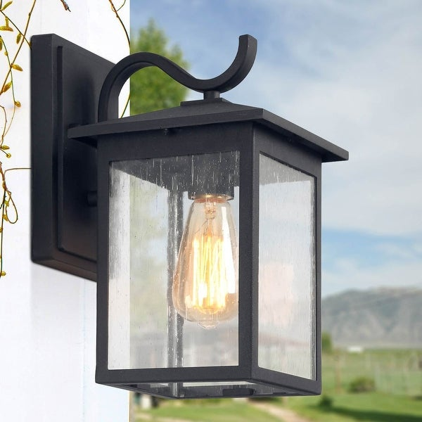 """LNC 1-Light Black Outdoor Wall Lantern Wall Seeded Glass Sconces - W7""""x H12.2""""x E9"""". Opens flyout."""
