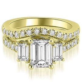 2.25 cttw. 14K Yellow Gold Lucida Three-Stone Diamond Emerald Cut Bridal Set
