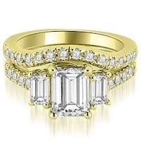 2.25 cttw. 14K Yellow Gold Lucida Three-Stone Diamond Emerald Cut Bridal Set