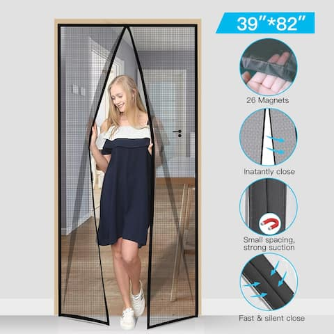 "Magic Mesh Hands-free Magnetic Screen Door with Durable Fiberglass Full Frame Hook & Loop 37""x82"" - Black"