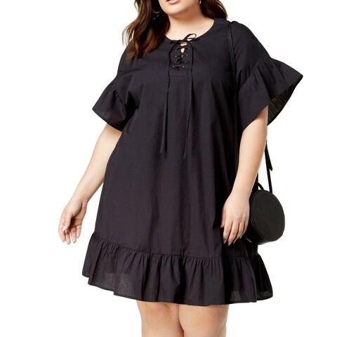 Lucky Brand Black Women's Size 1X Plus Ruffled Lace-Up Shirt Dress