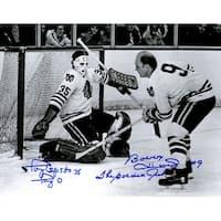 Bobby Hull  Tony Esposito Blackhawks BW Action 11x14 Photo wThe Golden Jet  Tony O