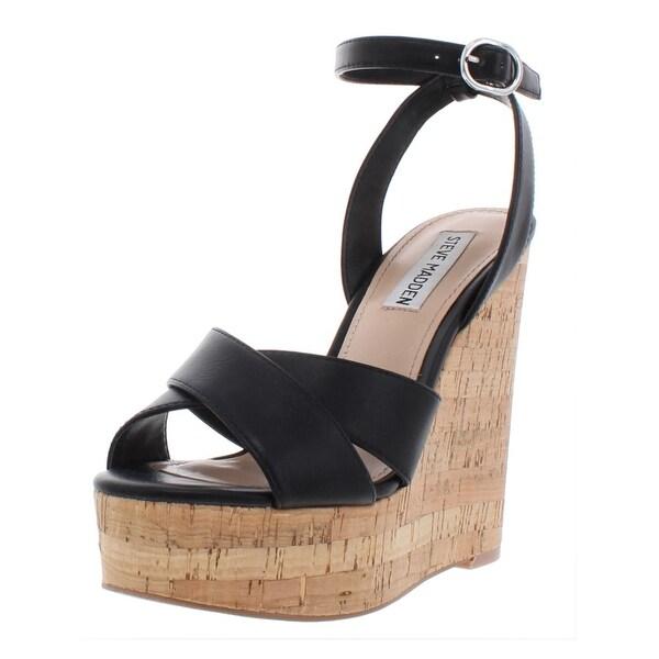 f8a60f61a60 Steve Madden Womens Mel Wedge Sandals Leather Cork