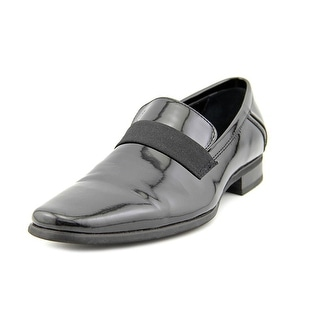 Calvin Klein Bernard Men Plain Toe Patent Leather Black Loafer