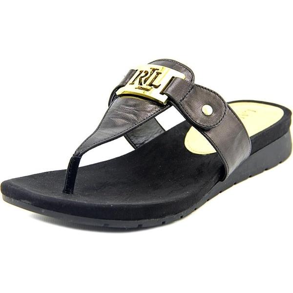 Lauren Ralph Lauren Lakin Women Open Toe Leather Black Thong Sandal
