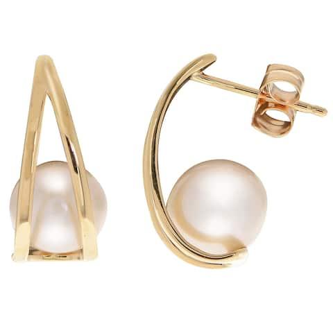 PearLustre by Imperial 10k Freshwater Pearl Half Hoop Earrings