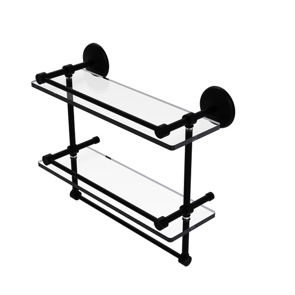 Allied Brass Monte Carlo Collection Gallery Double Glass Shelf with Towel Bar