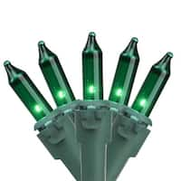 "Set of 100 Green Mini Christmas Lights 4.25"" Spacing - Green Wire"